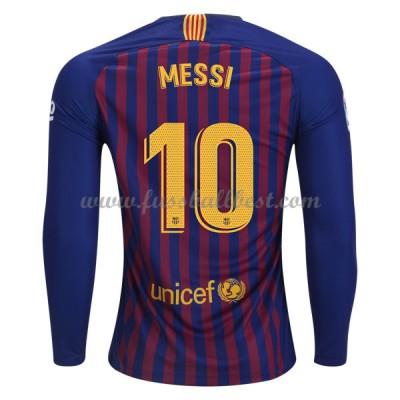 Barcelona Fußball Trikots 2018-19 Lionel Messi 10 Heimtrikot Langarm